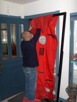 Setting up the blower door
