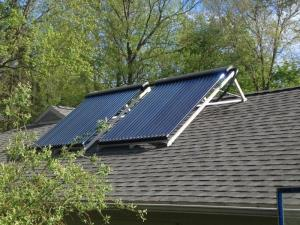 Solar thermal panels on garage roof